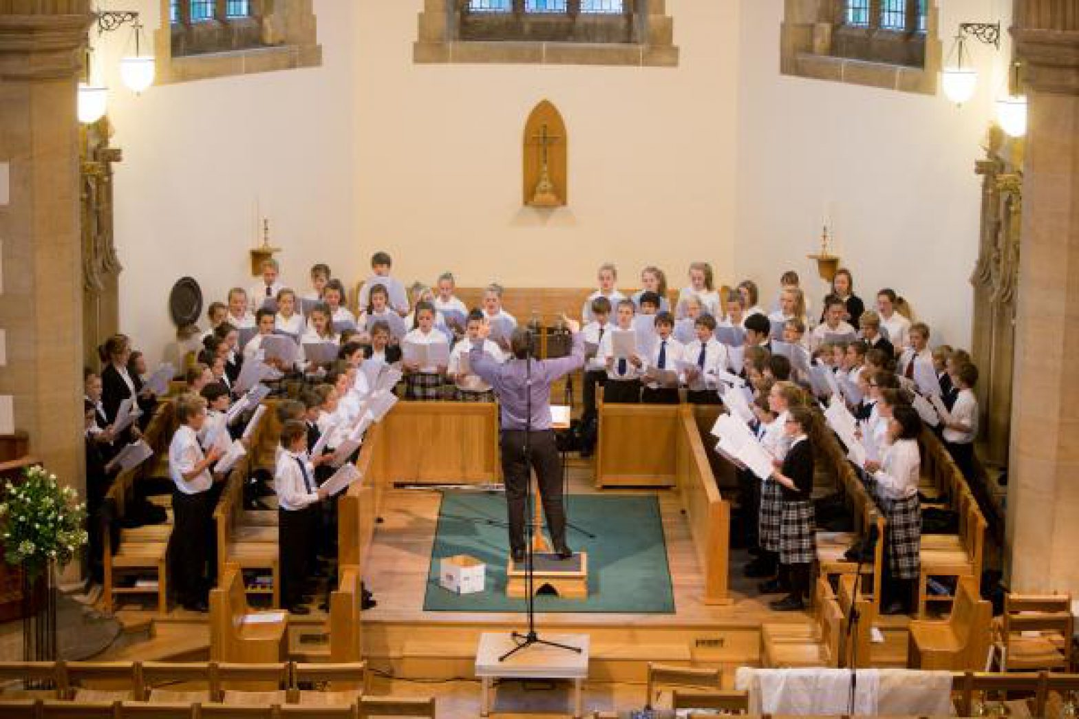 Oakham Jerwoods choir from above