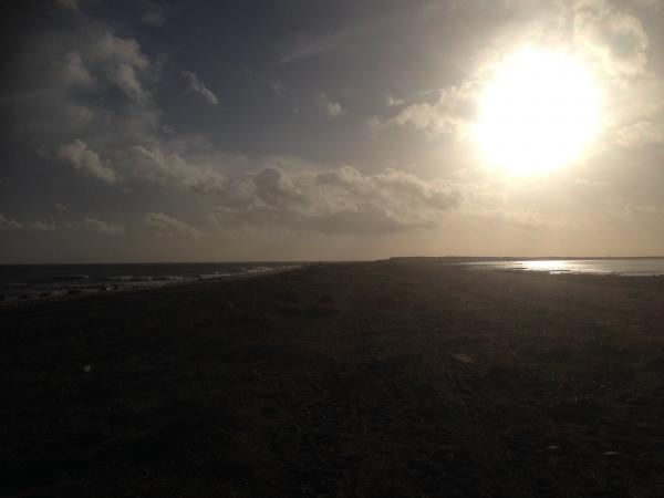 Spurn Point_to the south_into the sun